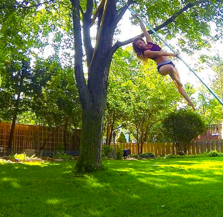 Outdoor swinging pole