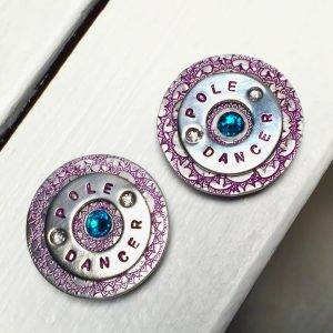Pole Dancer Mandala Magnet with Swarovski Crystals & Blue Zircon
