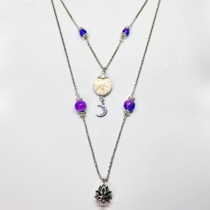 Moon Goddess Dance Necklace With Aromatherapy Lotus Pendant