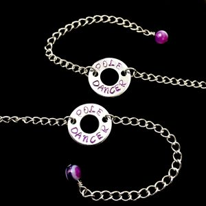 Pole Dancer Circlet Bracelet With Purple Banded Agate Gemstone