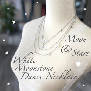 Tri-Layered White Moonstone Moon & Star Dance Necklace