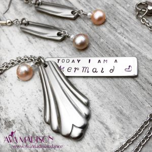 'Today I Am A Mermaid' Necklace & Earring Set With 6 Freshwater Pearls