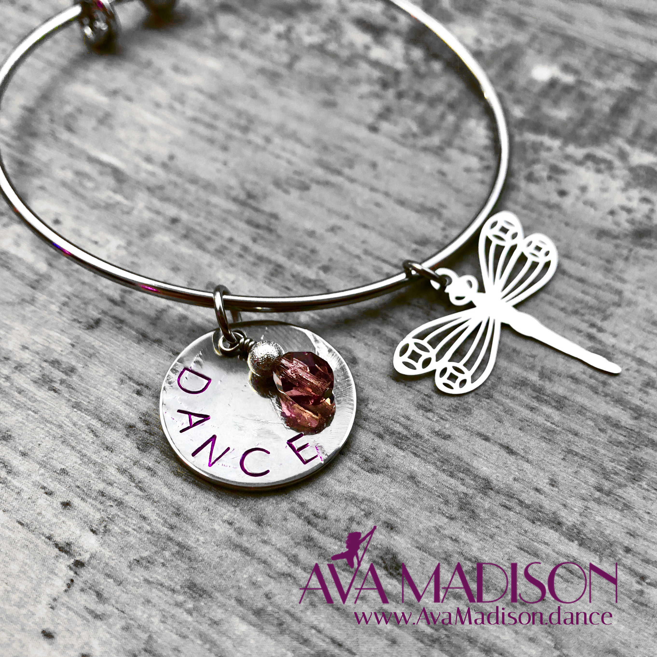 Dance Bracelet With Amethyst Silver Stardust Beading Dragonfly Charm