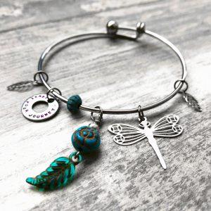 Trust Your Journey Dragonfly & Leaf Charm Bracelet