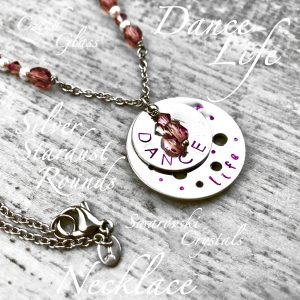 Dance Life Necklace With Czech Glass, Swarovski Crystals & Silver Stardust Rounds
