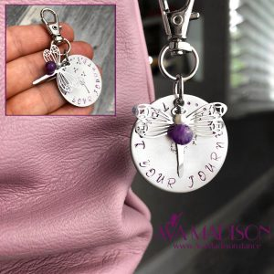 Dragonfly & Amethyst Trust Your Journey Keychain / Zipper Pull