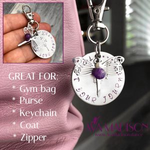 Dragonfly & Amethyst Trust Your Journey Keychain / Zipper Pull