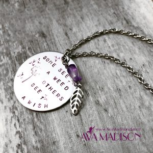 Some See A Weed Others See A Wish : Amethyst & Laced Leaf Necklace