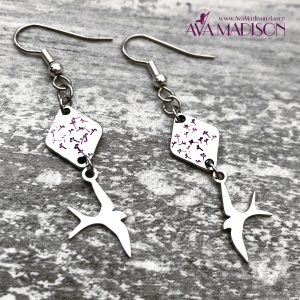 Hand Stamped Metal : Fly Like A Bird Earrings