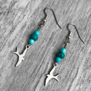 Turquoise Fly Bird Earrings