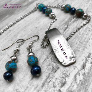 Crazy Blue Lace Agate & Black Pearl Handmade Dance Jewelry Set