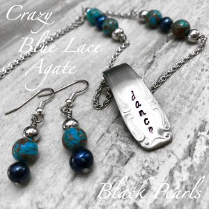 Crazy Blue Lace Agate & Black Pearl Handcrafted Dance Jewelry Set
