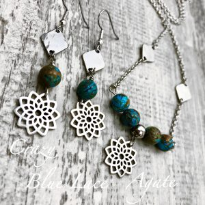Flower Of Life Crazy Blue Lace Agate Necklace & Earring Set