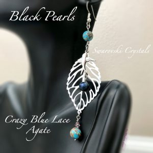 Black Pearl & Crazy Blue Lace Agate Swallow Earrings