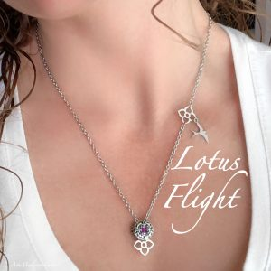 Lotus Flight Necklace With Purple Crystal