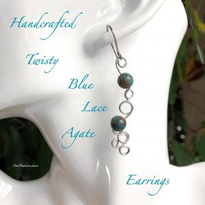 Handcrafted Twisty Blue Lace Agate Earrings