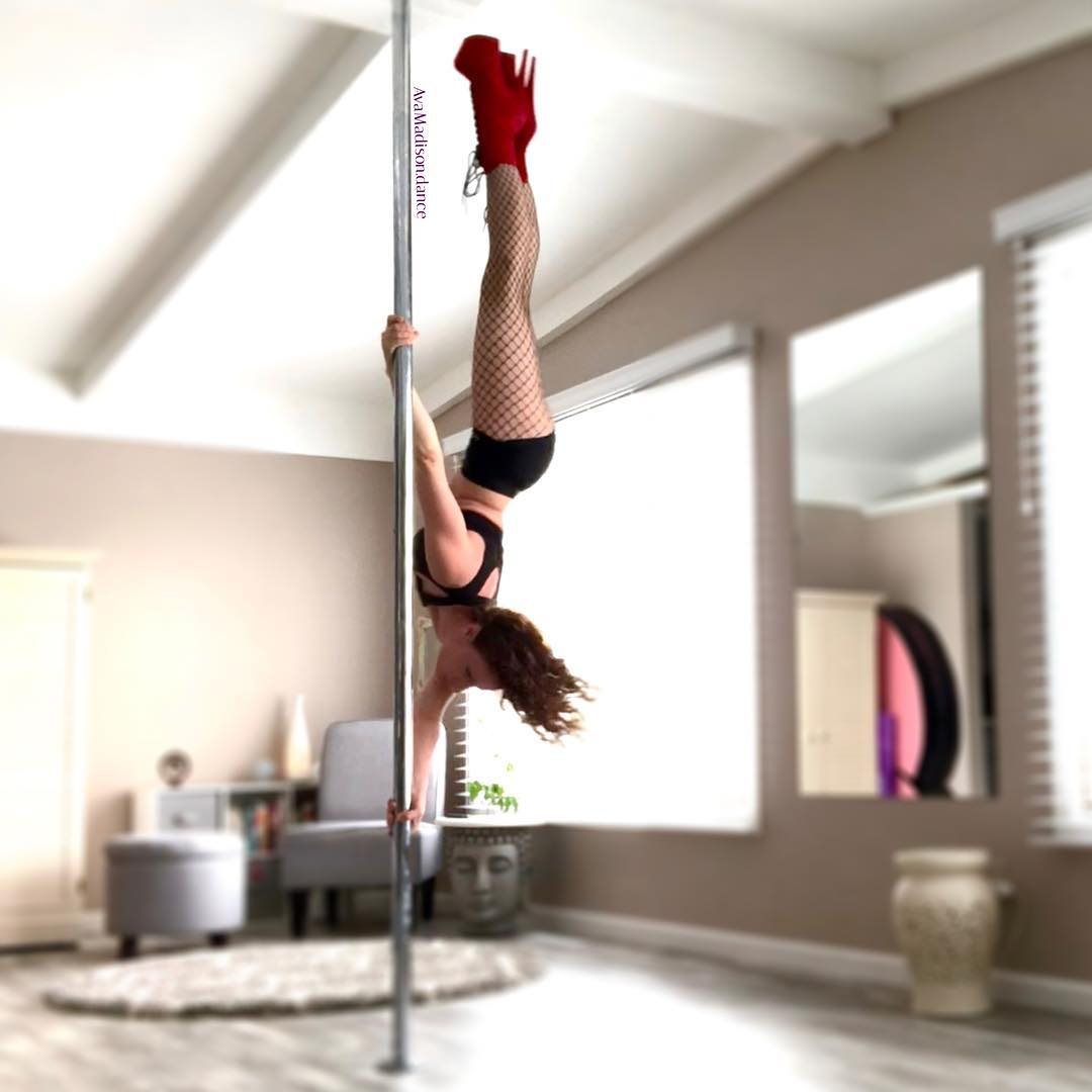 Ava Madison Inverted Pencil Pole Dance Red Boots Fishnets
