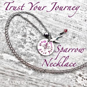 'Trust Your Journey' Swarovski Crystal Sparrow Necklace