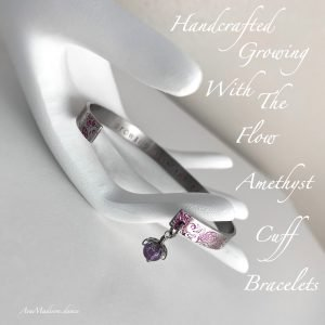 Handcrafted 'Growing With The Flow' Amethyst Cuff Bracelets