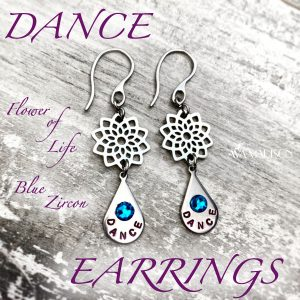 Flower Of Life Blue Zircon Dance Earrings
